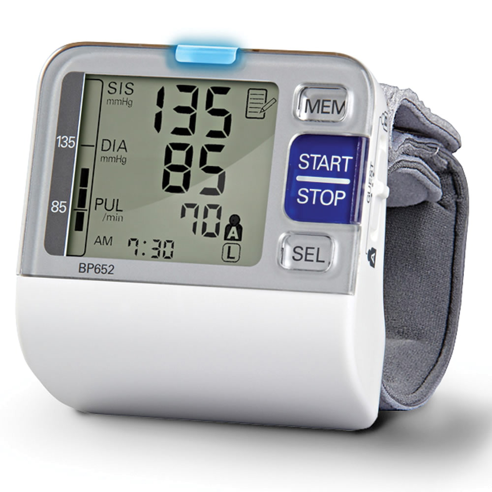 I used a wrist cuff like this one to easily and quickly get readings on my own blood pressure and heart rate for avoidance purposes.