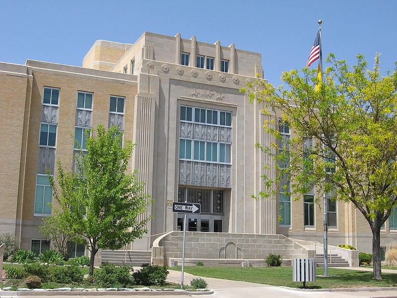 The Roosevelt County Courthouse in Portales, NM, a building recently reported in the news media to have a toxic mold problem. Many government buildings are poorly maintained and thus places to be cautious about when entering.