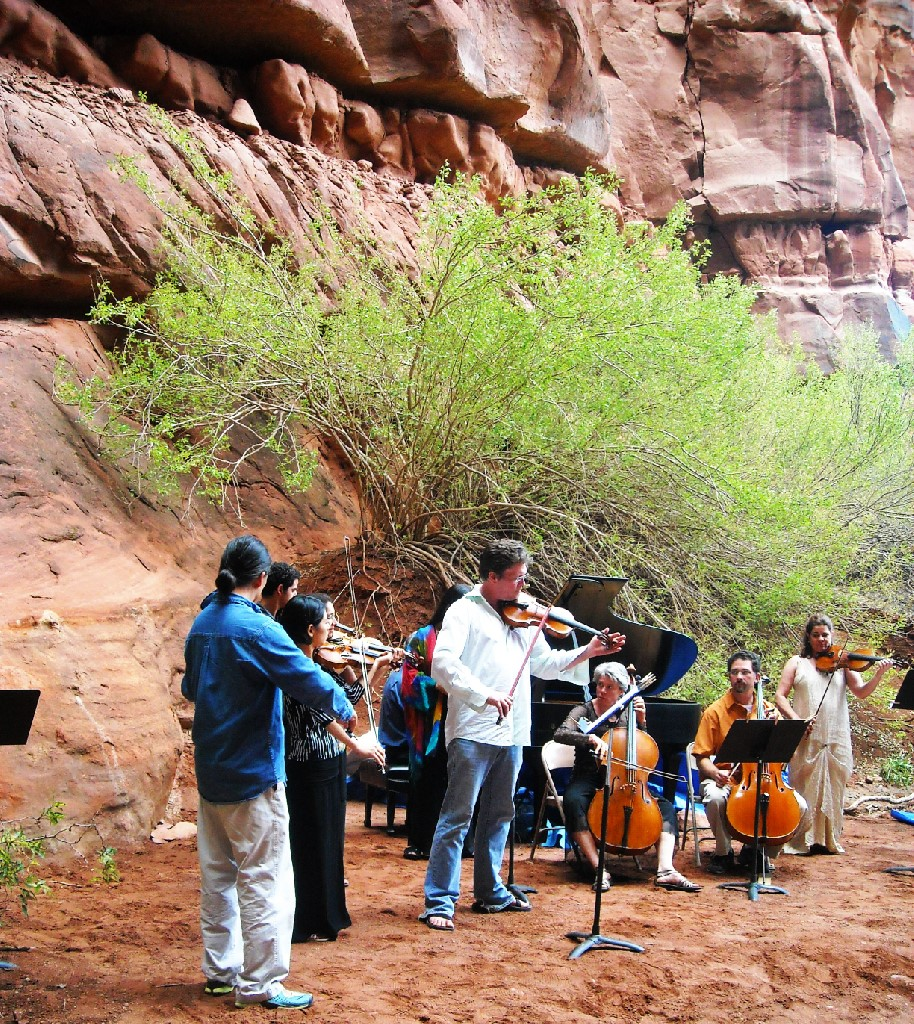 A Moab Music Festival concert held in a grotto at Canyonlands National Park.