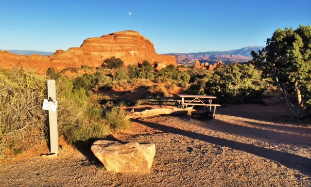 A campsite at Devil's Garden Campground in Arches National Park.