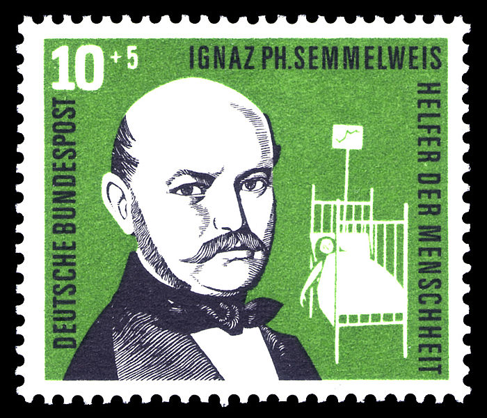 """Dr. Ignaz Semmelweis, whose experiments in a Vienna hospital in 1846 demonstrated that routine washing of hands could prevent deaths from childbed fever. Despite Semmelweis' attempts to make his findings known, most physicians refused to wash their hands until Louis Pasteur proved the """"germ theory"""" in the late 1870's."""