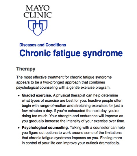 Info about CFS on the Mayo Clinic website