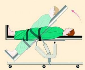 A patient undergoes tilt table testing.