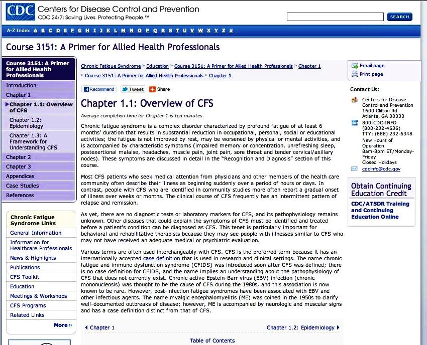 CDC CFS Definition